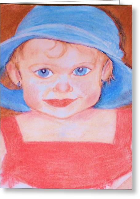 Greeting Card featuring the pastel Baby In Blue Hat by Christy Saunders Church