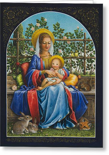 Baby Jesus In The Garden Greeting Card by Lynn Bywaters