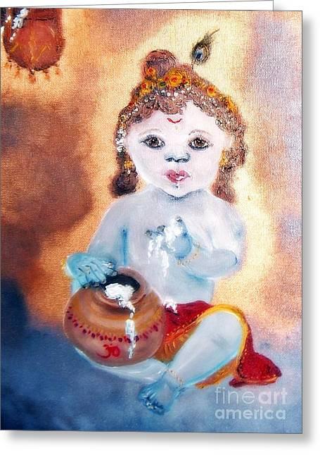 Baby Krishna Greeting Card by Ayasha Loya
