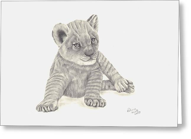 Greeting Card featuring the drawing Baby Lion by Patricia Hiltz