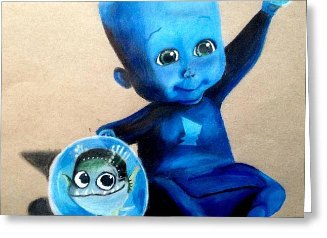 Baby Megamind Greeting Card by Loren Hill