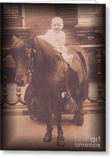 Baby On Pony Greeting Card by Anne Rodkin