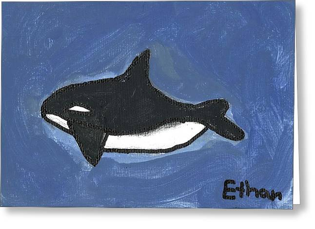 Greeting Card featuring the painting Baby Orca by Fred Hanna