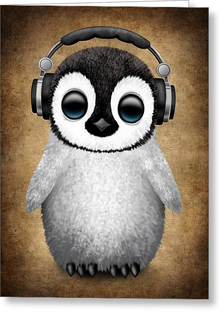 Baby Penguin Dj With Headphones Greeting Card by Jeff Bartels