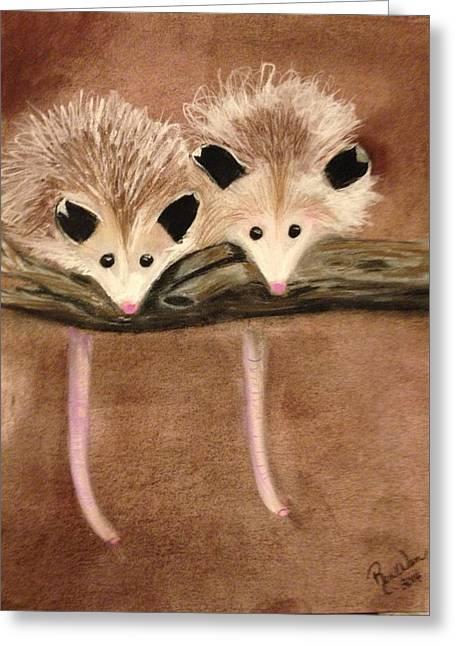 Baby Possums Greeting Card by Renee Michelle Wenker