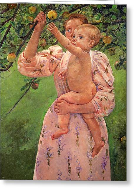 Baby Reaching For An Apple Greeting Card by Marry Cassatt