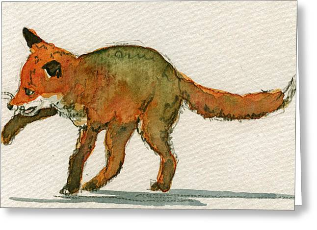 Baby Red Fox Playing Greeting Card