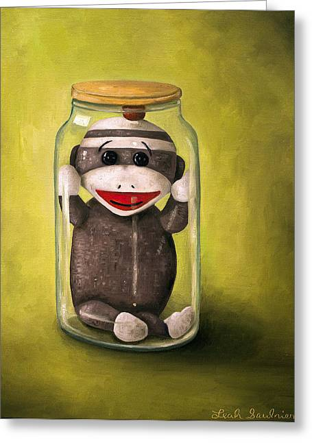 Baby Sock Monkey  Preserving Childhood 5 Greeting Card by Leah Saulnier The Painting Maniac