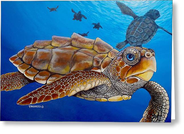 Baby Turtles Greeting Card by Lina Tricocci