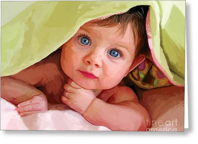 Greeting Card featuring the painting Baby Under Blanket by Tim Gilliland