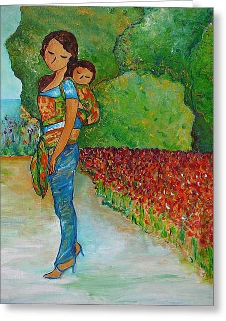 Greeting Card featuring the painting Baby Wearing In The Green by Gioia Albano