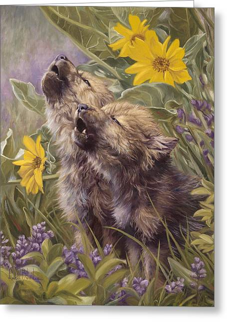 Baby Wolves Howling Greeting Card