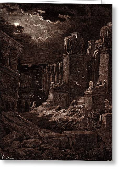 Babylon Fallen, By Gustave Dore Greeting Card