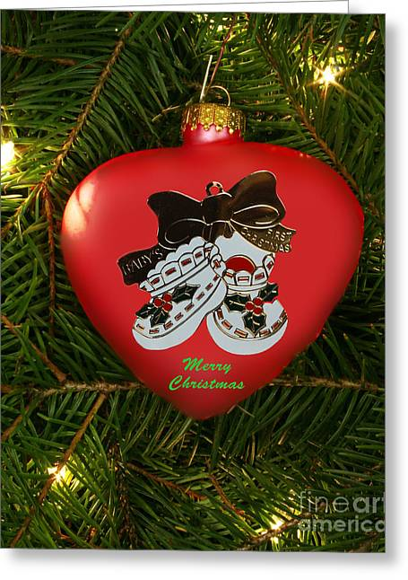 Baby's 1st Christmas Heart Ornament Greeting Card by Linda Rae Cuthbertson