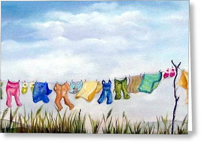 Baby's Clothesline Greeting Card by Anna-maria Dickinson