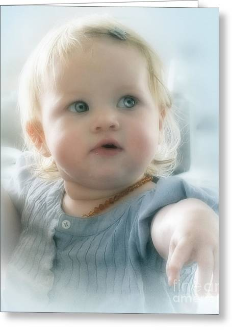 Baby's Got Blue Eyes Greeting Card by Karen Lewis
