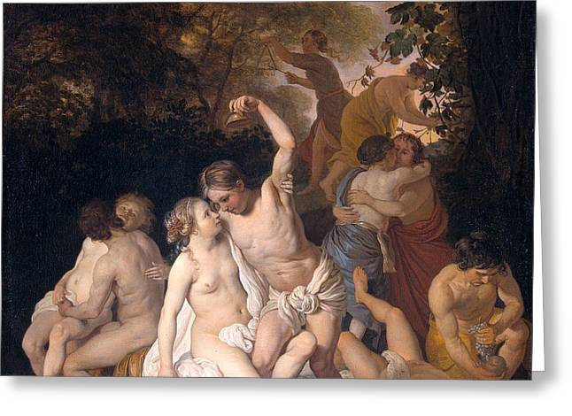 Bacchic Scene Greeting Card by Jacob van Loo