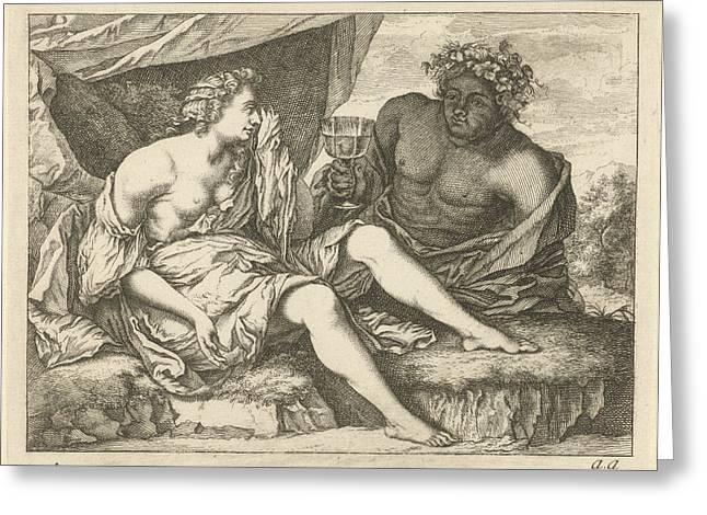 Bacchus And Ariadne, Arnold Houbraken, Anonymous Greeting Card by Arnold Houbraken