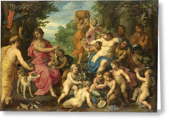 Bacchus And Diana Greeting Card