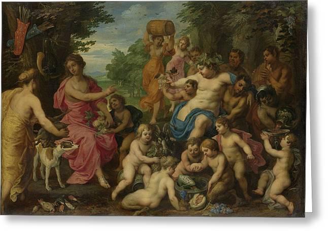 Bacchus And Diana, Hendrik Van Balen Greeting Card