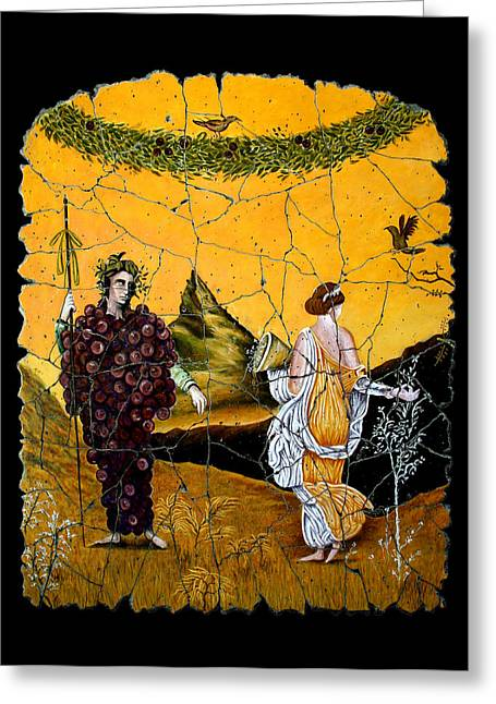Bacchus And Flora Greeting Card by Steve Bogdanoff