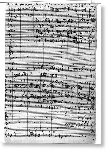 Bach Manuscript, C1729 Greeting Card by Granger