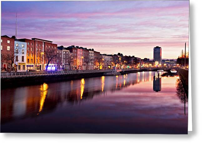 Bachelors Walk And River Liffey At Dawn - Dublin Greeting Card