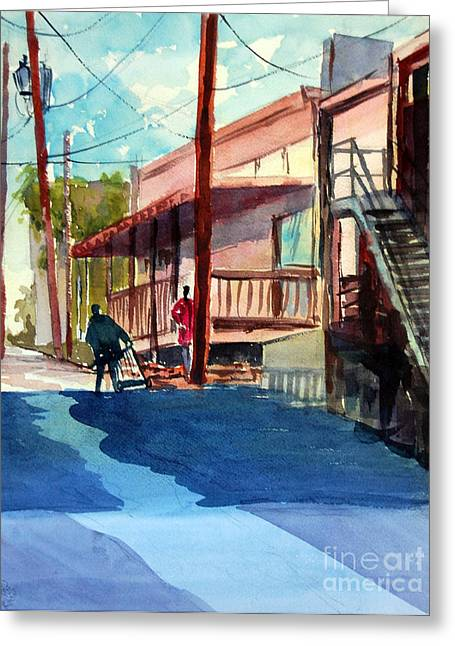 Back Alley Greeting Card by Ron Stephens