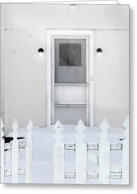 Back Door In Winter Greeting Card by Jill Battaglia