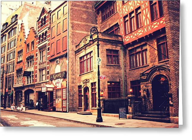 Back In Time - Stone Street Historic District - New York City Greeting Card by Vivienne Gucwa