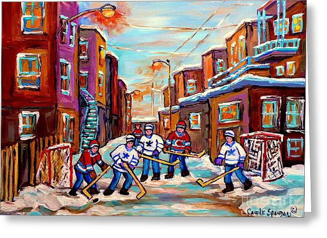 Back Lane Hockey Practice Pointe St.charles Montreal City Winter Scene Painting Carole Spandau Greeting Card by Carole Spandau