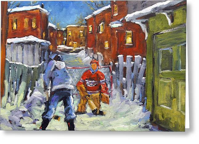Back Lane Hockey Shoot Out By Prankearts Greeting Card by Richard T Pranke