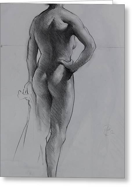 Back Lighting On Nude Greeting Card by Ernest Principato