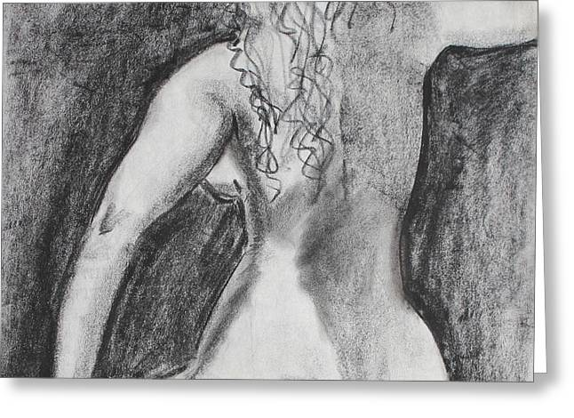 Back Of A Seated Woman Greeting Card