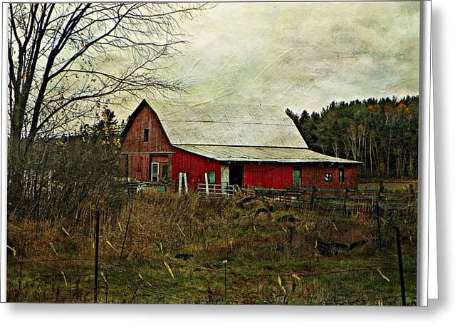 Back Road Barns  Greeting Card by Dianne  Lacourciere