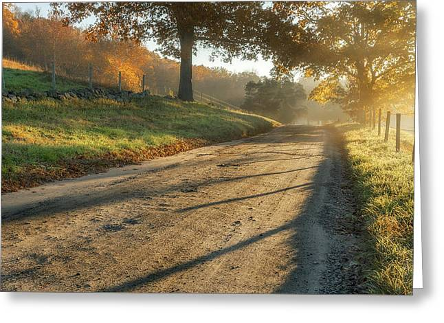 Back Road Morning Greeting Card by Bill Wakeley