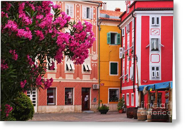Back Streets Of Izola Slovenia Greeting Card