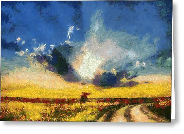 Greeting Card featuring the painting Back To Goodbye by Joe Misrasi