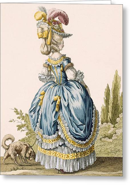 Back View Of A Ladys Gown, Engraved Greeting Card by Claude Louis Desrais