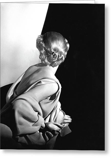 Back View Of A Model Wearing A Sleeveless Dress Greeting Card by Horst P. Horst