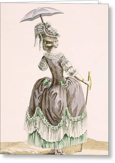 Back View Of Ladys Grey Promenade Greeting Card by Pierre Thomas Le Clerc