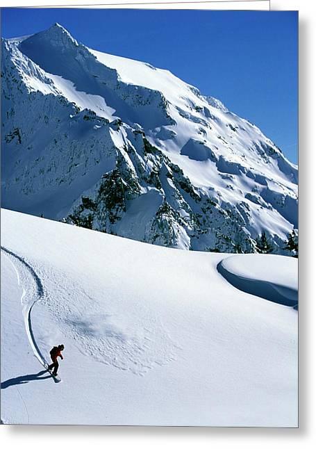 Backcountry Snowboarding Near Mt Greeting Card