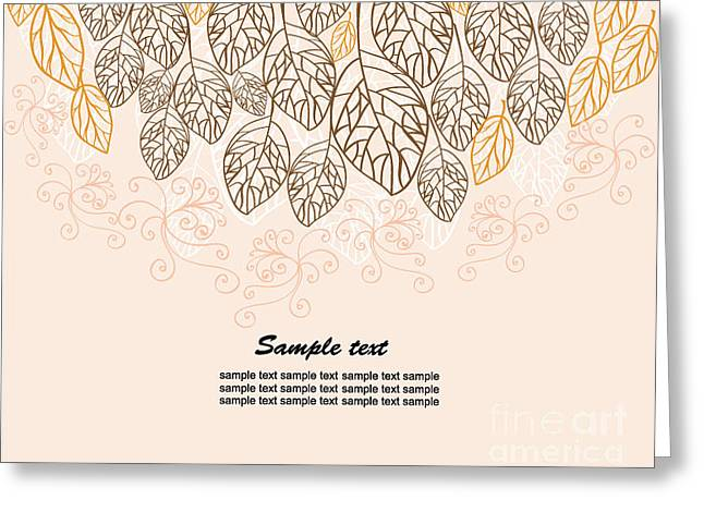 Background With Leaves Greeting Card