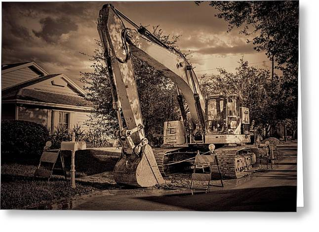 Backhoe-1 Greeting Card by Rudy Umans