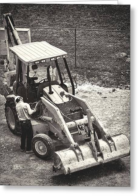 Backhoe Bw Greeting Card by Rudy Umans