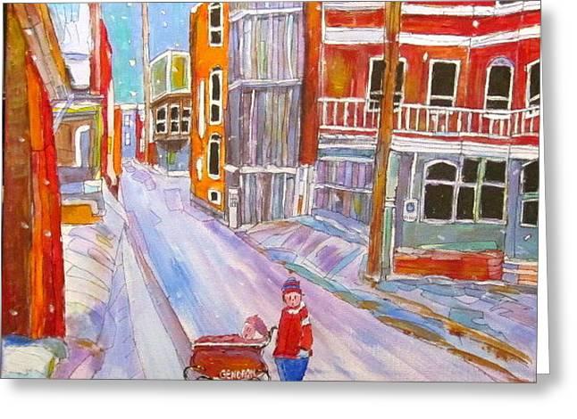 Backlane Snow Greeting Card by Michael Litvack