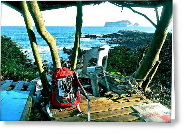 Backpack On The Edge Greeting Card by Yen