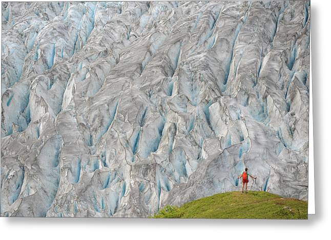 Backpacker Hikes The Harding Icefield Greeting Card