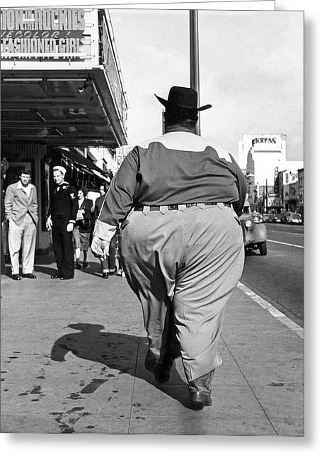 Backside Of Hefty Cowboy Greeting Card by -