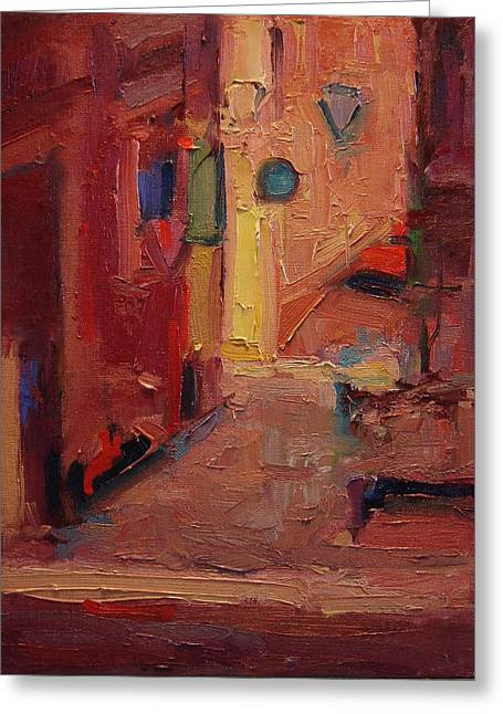Backstreet In Sienna Greeting Card by R W Goetting